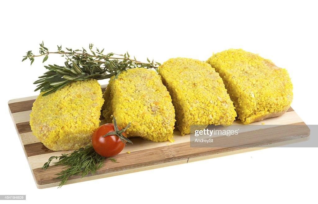 Frozen chicken cutlets : Stock Photo