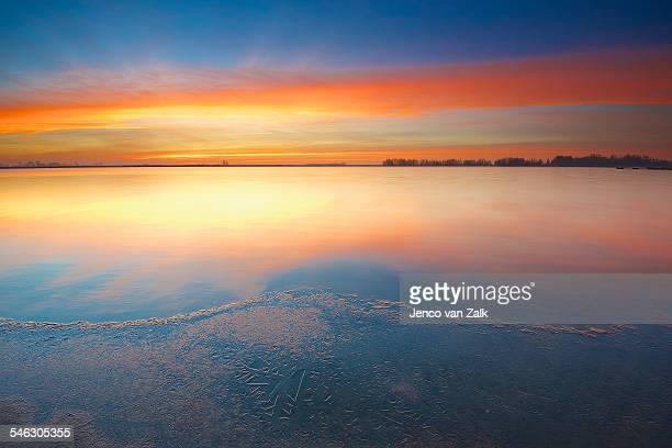 Frozen colourful sunrise