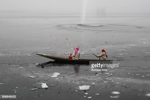 frozen dal lake, srinagar - burhaan kinu stock pictures, royalty-free photos & images