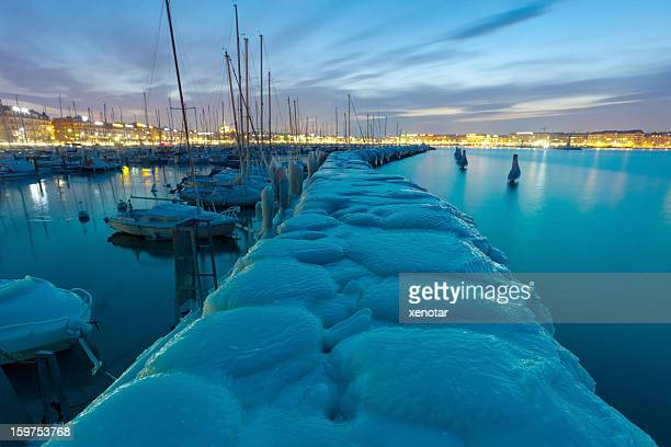 Frozen embankment of Lake Geneva