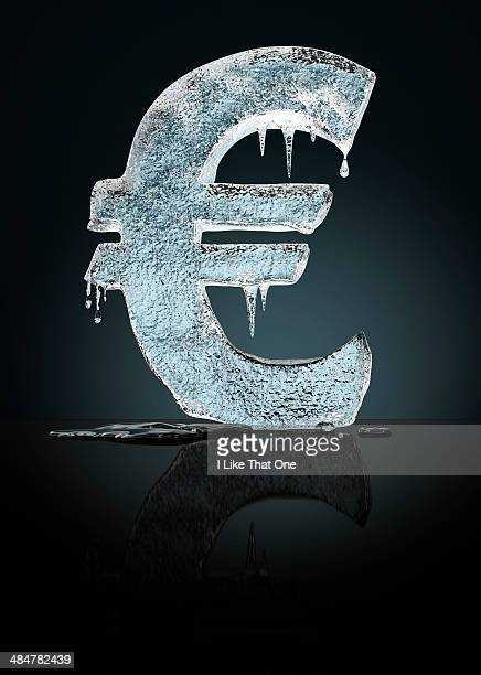 frozen euro icon - atomic imagery stock pictures, royalty-free photos & images