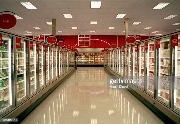 Frozen food aisle in a supermarket