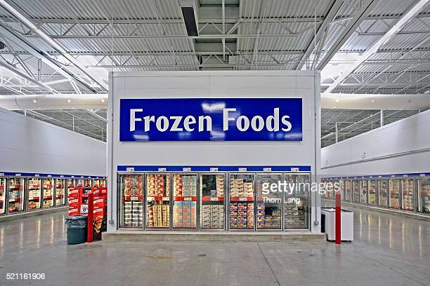 frozen food section in sam's club membership warehouse store - sam's club stock pictures, royalty-free photos & images