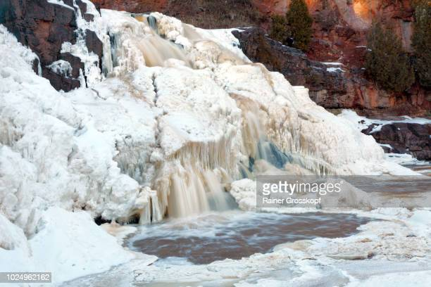 Frozen Gooseberry Falls in winter