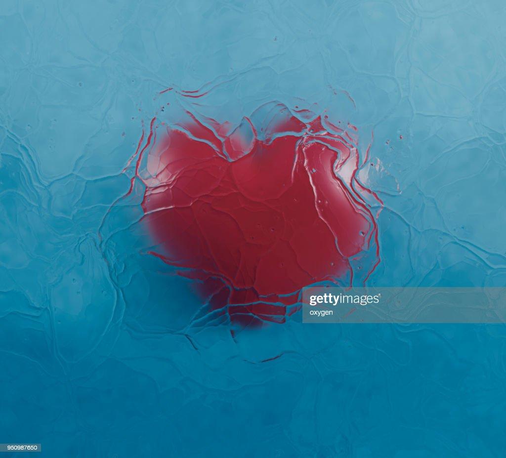 Frozen Heart Under the Blue Wather : Stock Photo