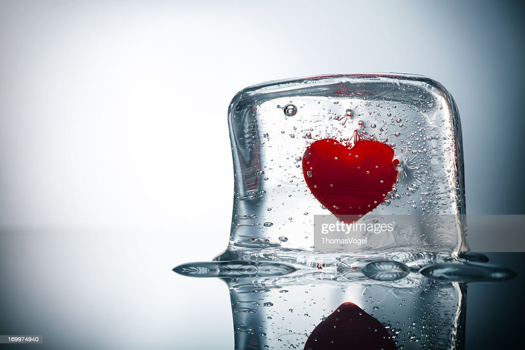 Frozen Heart Water Ice Cube Love Valentines Day Stock Photo