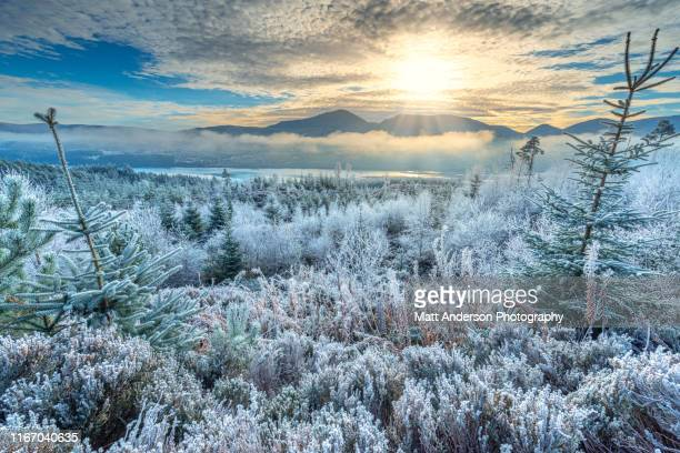 frozen highlands and valley near river moriston and loch cluanie #2 - frozen 2 stock pictures, royalty-free photos & images
