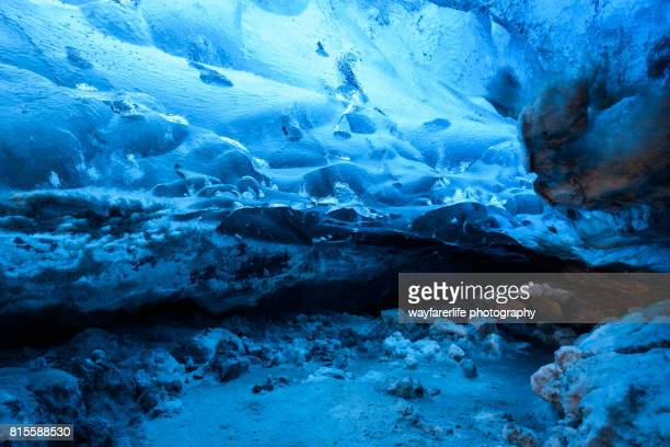 frozen ice cave in vatnajokull national park, iceland - skaftafell national park stock photos and pictures