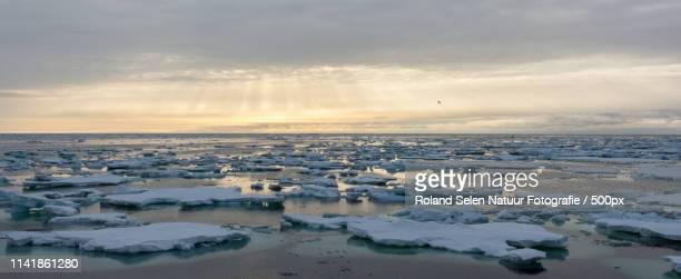 Frozen ice on water landscape