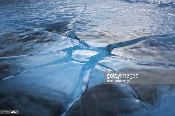 A frozen ice pattern on Abraham Lake, Kootenay Plains, Alberta, Canada