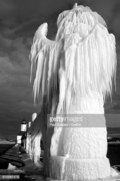 Frozen Ice Sculpture On Fence Against Sky