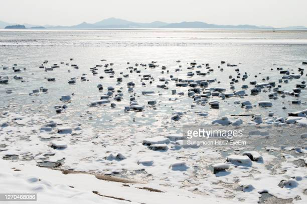 frozen ices on beach against sky - gwangju stock pictures, royalty-free photos & images