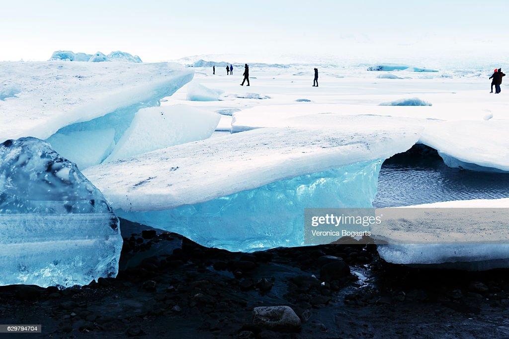 Frozen Jokulsarlon glacial lagoon in winter, Iceland : Stock Photo