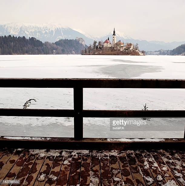 Frozen lake and island Bled