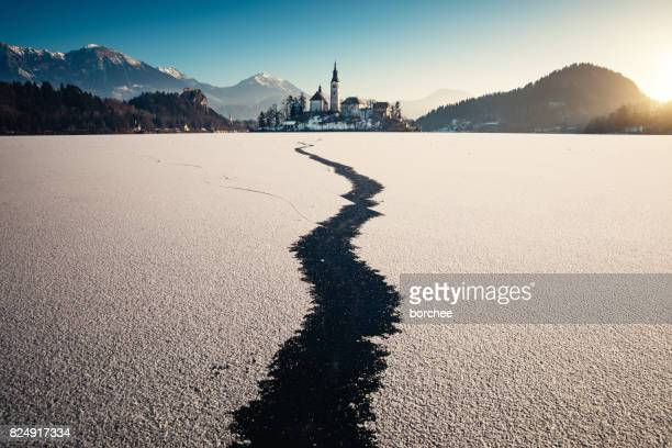 Frozen Lake Bled At Sunrise