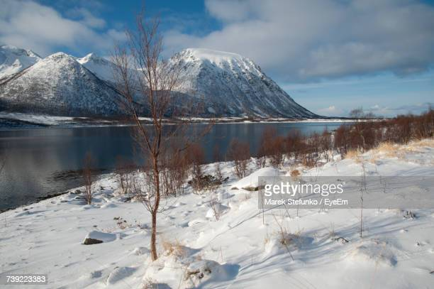 frozen lake by snowcapped mountain against sky - marek stefunko stockfoto's en -beelden