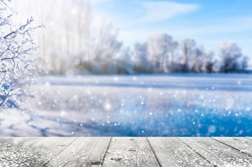 frozen lake in idyllic winter landscape 1062631326