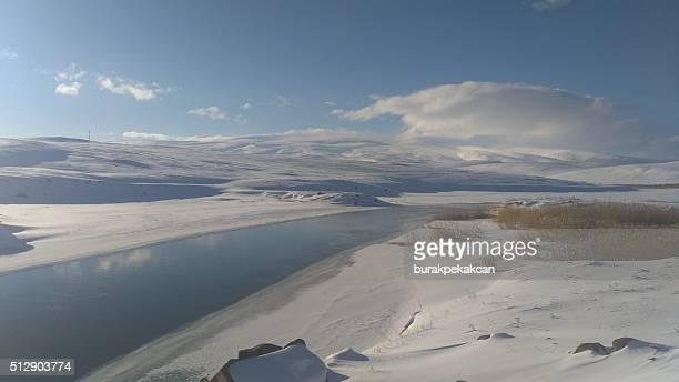 frozen lake, kars, turkey - anatolia stock pictures, royalty-free photos & images