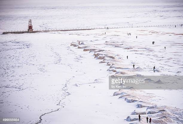 frozen lake - ken ilio stock photos and pictures