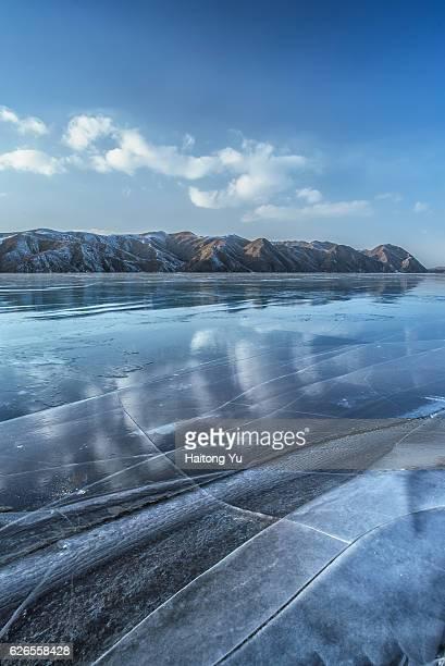 Frozen lake surface. Yunzhou Reservoir, Hebei, China