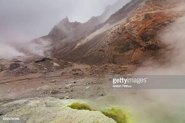 frozen lava of tolbachik volcano, kamchatka - smoking crack stock photos and pictures