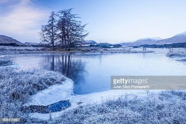 A frozen Loch Tulla in the Highlands of Scotland.