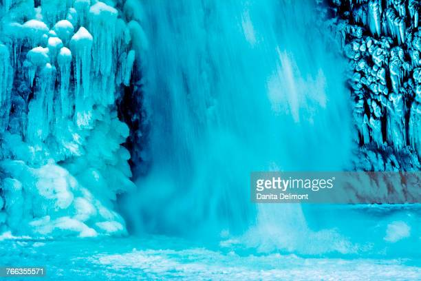 Frozen Lower Horsetail Falls in winter in Columbia River Gorge, Oregon, USA