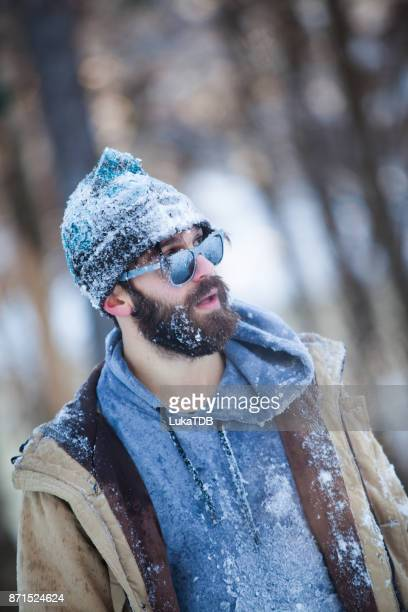 Frozen man on winter journey