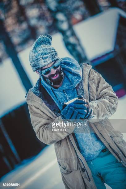 Gefrorene Mann auf Winterreise