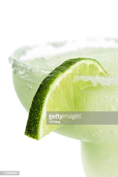 Frozen Margarita Cold Cocktail with Lime in Glass, White Background