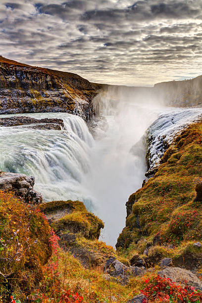 Frozen mist on autumn day at Gullfoss