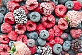 Frozen mix berries background