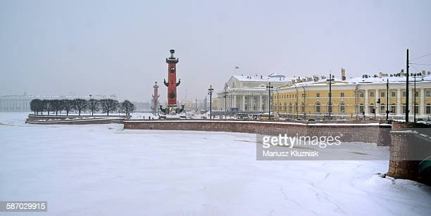 frozen neva river and saint petersburg river bank - neva river stock photos and pictures