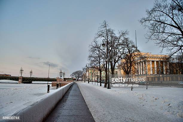 frozen neva river of saint petersburg in russia - neva river stock photos and pictures