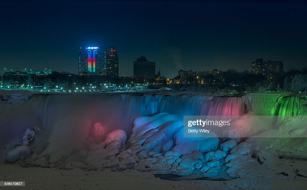 Frozen Niagara Falls At Night In Winter High Res Stock Photo