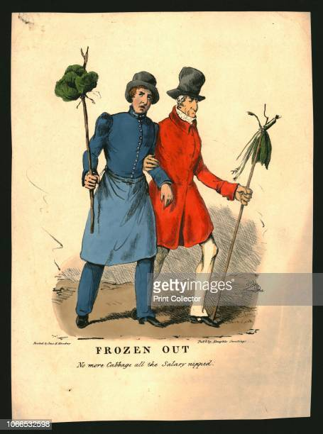 Frozen Out' circa 1830 'No more Cabbage all the Salary nipped' caricature of British politicians Sir Robert Peel dressed as a policeman and wearing a...
