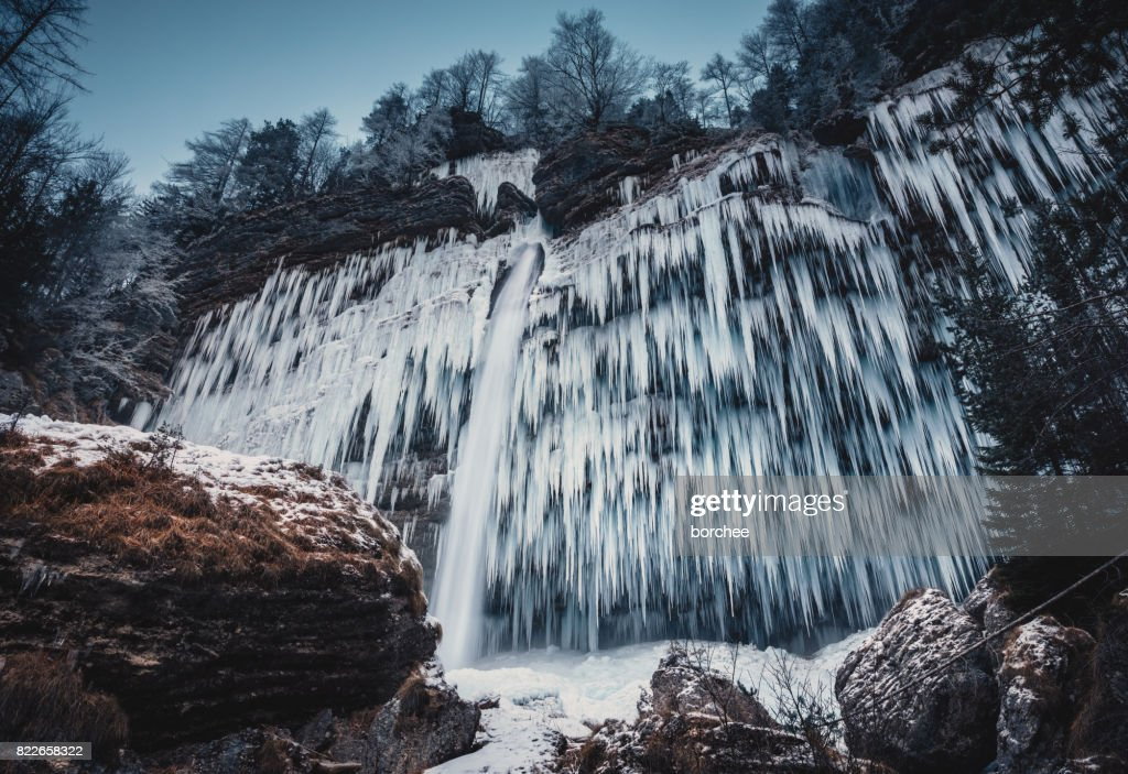 Frozen Pericnik Waterfall On A Cold Morning : Stock Photo