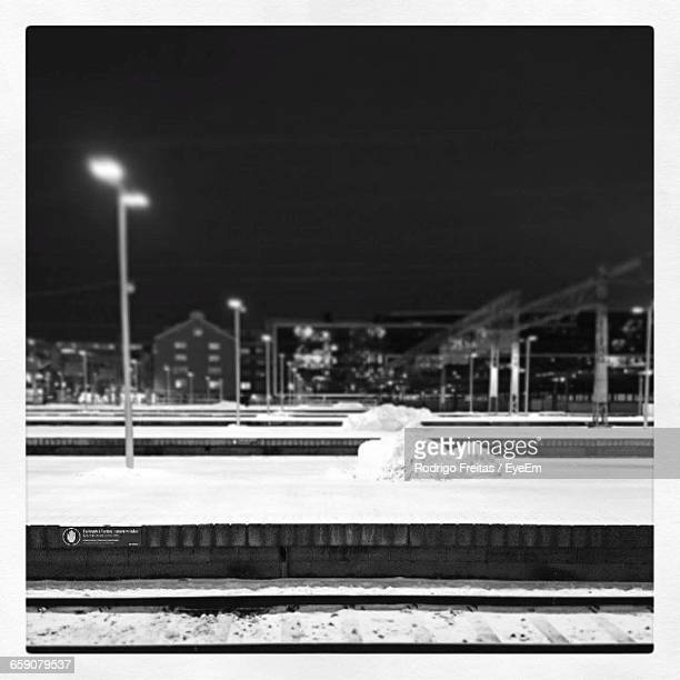Frozen Railroad Station Platforms At Night