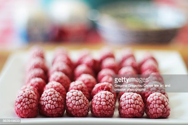 frozen raspberries on a plate - gregoria gregoriou crowe fine art and creative photography fotografías e imágenes de stock