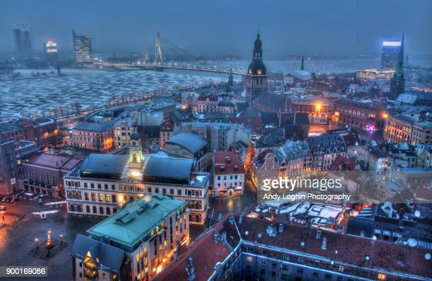 frozen riga - latvia stock pictures, royalty-free photos & images