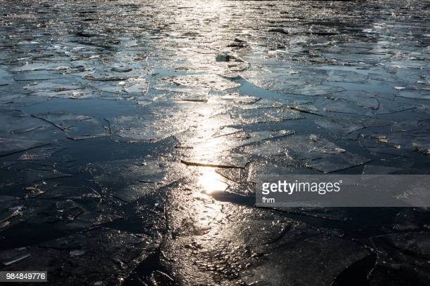 Frozen river - ice floes on a river