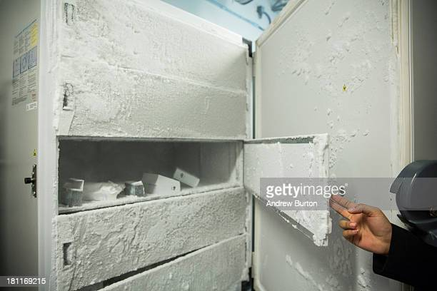Frozen RNA samples are displayed in a freezer chilled to 80 degrees celsius at the New York Genome Center on September 19 2013 in New York City The...