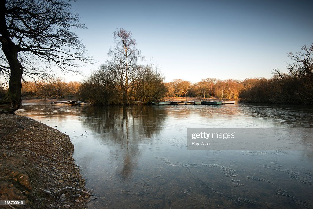 Frozen row-boats : Foto stock