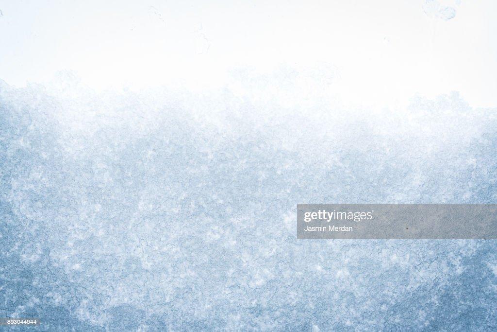 Frozen snow window : Stock Photo