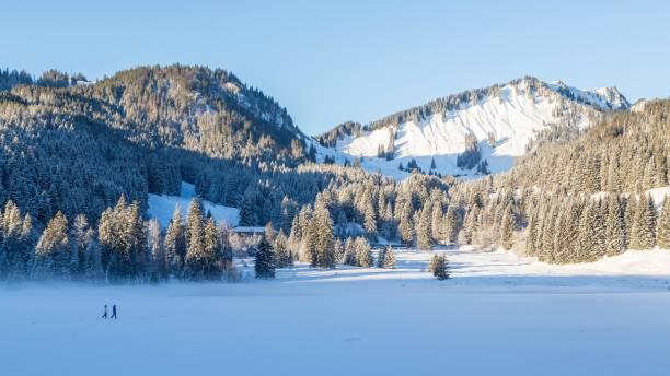 Frozen Spitzingsee in winter with walkers, in the back Schlierseer Berge with Brecherspitz, Spitzingsee, Schliersee, Bavaria, Germany