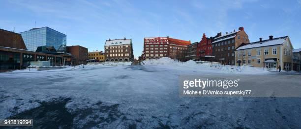 frozen stortorget square in östersund - östersund stock-fotos und bilder