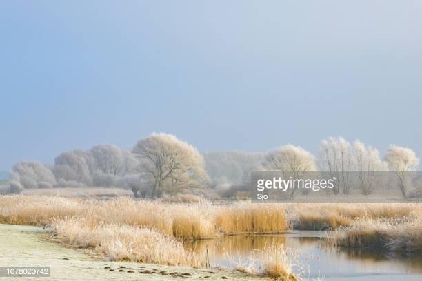 Frozen winter river landscape with a blue sky