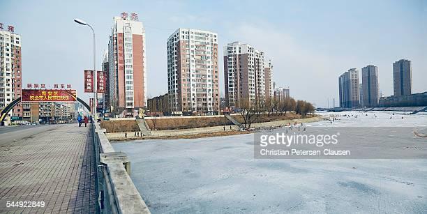 Frozen Yalu River in Dandong