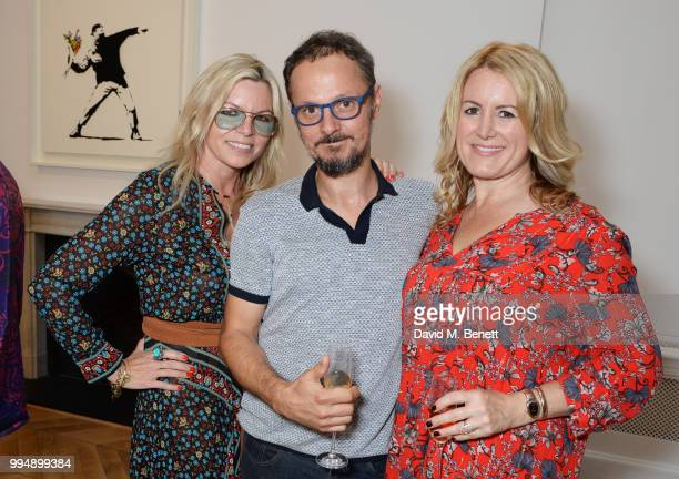 Fru Tholstrup Jonathan Yeo and Jane Neal attend the Bansky 'Greatest Hits 20022008' exhibition VIP preview at Lazinc on July 9 2018 in London England