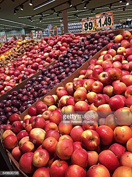 fruit aisle in grocery store - produce aisle stock photos and pictures